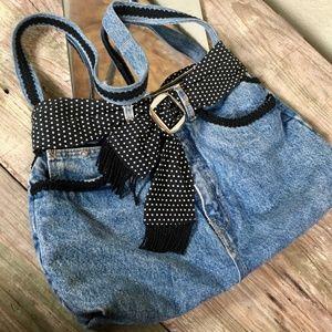 Handbags - Cutoff Denim Booty Bag fringe B&W polka dot lining
